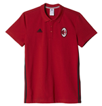 2016-2017 AC Milan Adidas 3S Polo Shirt (Red)