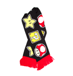 Nintendo - Knitted Scarf With Mushroom, Star And Questionmark