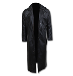 Just Tribal - Gothic Trench Coat PU-Leather with Full Zip