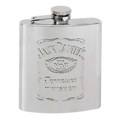 JACK DANIELS Raised Logo Silver Flask