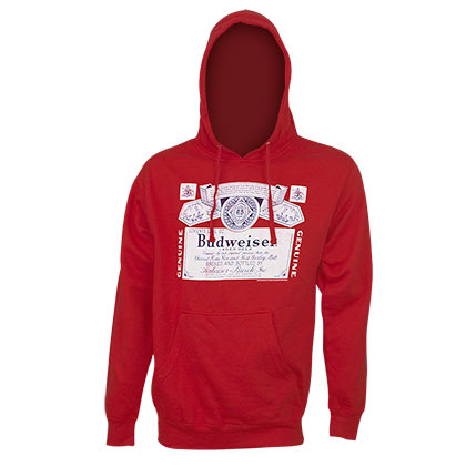 BUDWEISER Classic Label Red Hoodie Sweatshirt