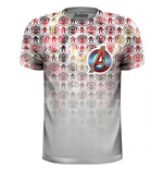 Marvel Comics Premium Tee: Avengers Icons Pattern Pocket Logo