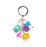 Adventure Time - Metal Keychain With Finn, Jake, Beemo, Lumpy, Princess Bubblegum Charm