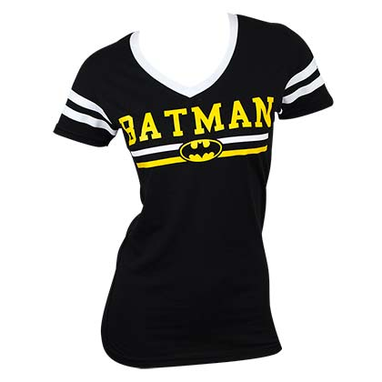 BATMAN Logo Varsity V-Neck Tee Shirt