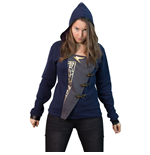 DISHONORED 2 Women's Emily 'Empress' Full Length Zipper Hoodie with Asymmetric Fabric Closure, Extra Large, Dark Blue/Grey