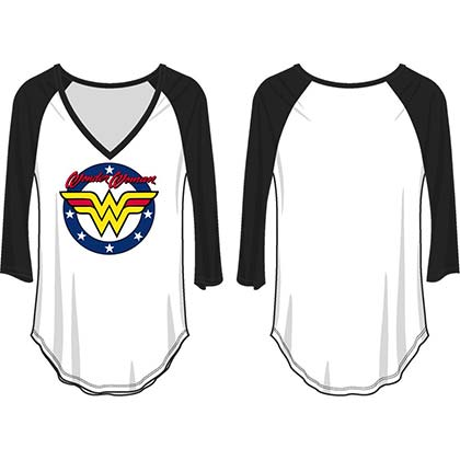 WONDER WOMAN Women's V-Neck Raglan Shirt