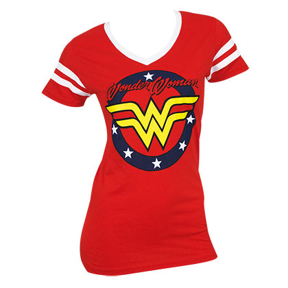 WONDER WOMAN Round Logo Women's V-Neck Tshirt
