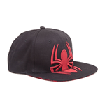 MARVEL COMICS Ultimate Spider-Man Unisex Embroidered Red Spidey Logo with Webbed Brim Snapback Baseball Cap, One Size, Black/Red