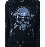 Shirt with large skull & bondage straps