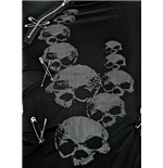 Shirt with grey skulls under net