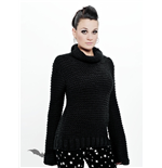 Long black knit turtleneck sweater