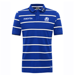 2016-2017 Scotland Macron Rugby Travel Cotton Pinstripe Polo Shirt (Blue)