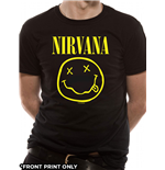Nirvana - Smiley Logo Front Print Only - Unisex T-shirt Black