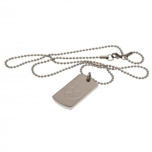 West Ham United F.C. Engraved Crest Dog Tag & Chain