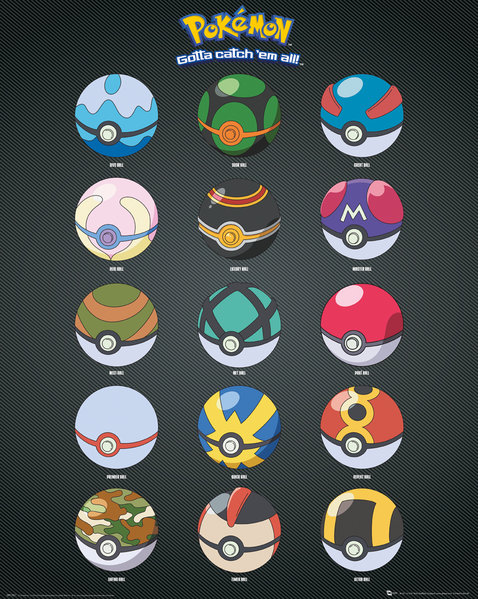 POKEMON Pokeballs Mini Poster