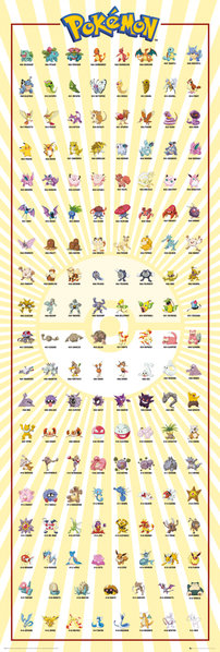 POKEMON Kanto 151 Door Poster