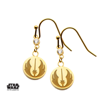 Star Wars Earrings Jedi Symbol & Cubic Zirconia (gold plated)