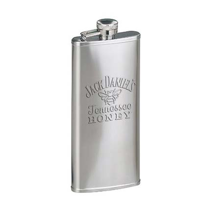 JACK DANIELS Etched Tennessee Honey Silver Flask