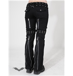 Trousers with buckles and zippers