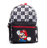 NINTENDO Super Mario Bros. Mario Jumping with All-over Tiled Characters Backpack, Black/White