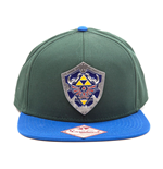 NINTENDO Legend of Zelda Metal Hylian Shield Snapback Baseball Cap, One Size, Green/Blue