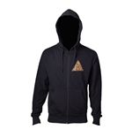 NINTENDO Legend of Zelda Men's Golden Triforce Logo Full Length Zipper Hoodie, Medium, Black