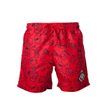 Nintendo - Mario Swimshort Red With Allover Print And Small Mario Head On