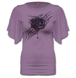 Black Rose Dew - Boat Neck Bat Sleeve Top Purple