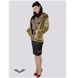 Leopard faux fur hooded jacket
