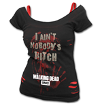 NOBODY'S Bitch - Walking Dead 2in1 Red Ripped Top Plus Size