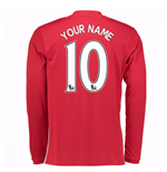 2016-17 Man United Home Long Sleeve Shirt (Your Name) -Kids