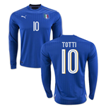 2016-2017 Italy Long Sleeve Home Shirt (Totti 10)