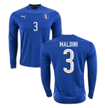 2016-2017 Italy Long Sleeve Home Shirt (Maldini 3)