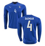2016-2017 Italy Long Sleeve Home Shirt (Darmian 4)