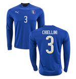 2016-2017 Italy Long Sleeve Home Shirt (Chiellini 3)