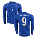 2016-2017 Italy Long Sleeve Home Shirt (Balotelli 9)