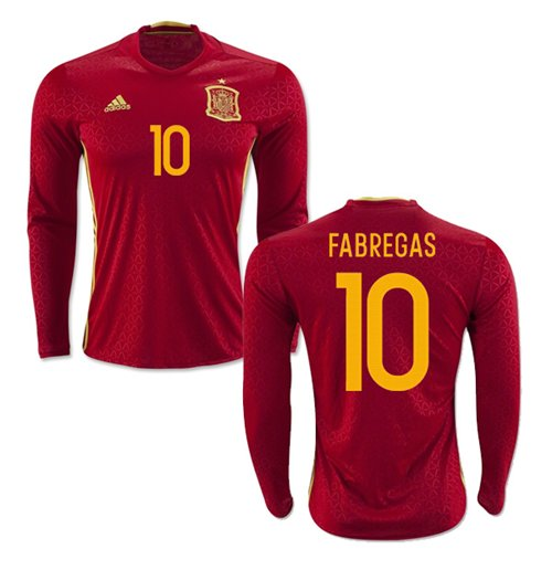 official photos 5d229 53cdc 2016-2017 Spain Long Sleeve Home Shirt (Fabregas 10)