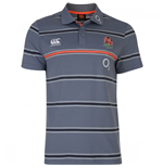 2016-2017 England Rugby Cotton Stripe Polo Shirt (Folkestone Grey)