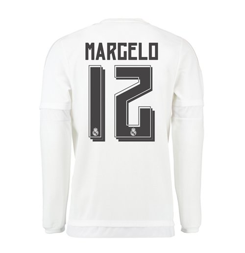 big sale 11dd6 94009 2015-16 Real Madrid Long Sleeve Home Shirt (Marcelo 12) - Kids