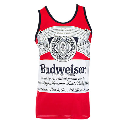 BUDWEISER Bottle Large Logo Red Tank Top