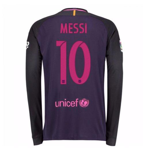 huge discount c6915 dd0d2 2016-17 Barcelona Away Long Sleeve Shirt (Messi 10)