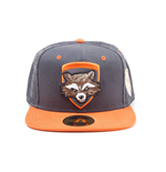 MARVEL COMICS Guardians of the Galaxy Vol. 2 Rocket Character Snapback Baseball Cap, One Size, Dark Grey/Orange