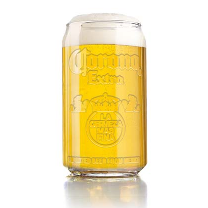 CORONA EXTRA Embossed Can Shaped Glass