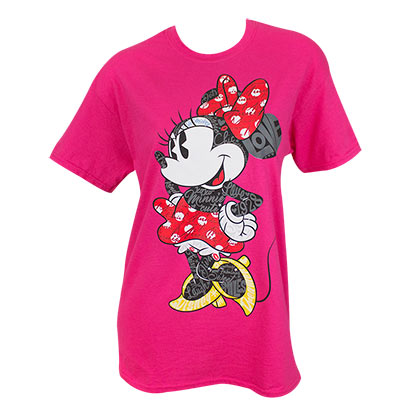Minnie Mouse Words Ladies Tee Shirt