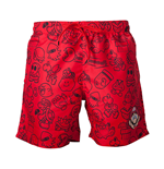 NINTENDO Super Mario Bros. Men's Mario Face & All-over Characters Print Swimming Shorts, Medium, Red