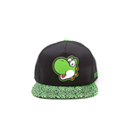 NINTENDO Super Mario Bros. Yoshi Face Rubber Patch Snapback Baseball Cap with Animal Print Brim, One Size, Green/Black