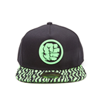 MARVEL COMICS Incredible Hulk Fist Smash Rubber Patch Snapback Baseball Cap with Animal Print Brim, One Size, Black/Green