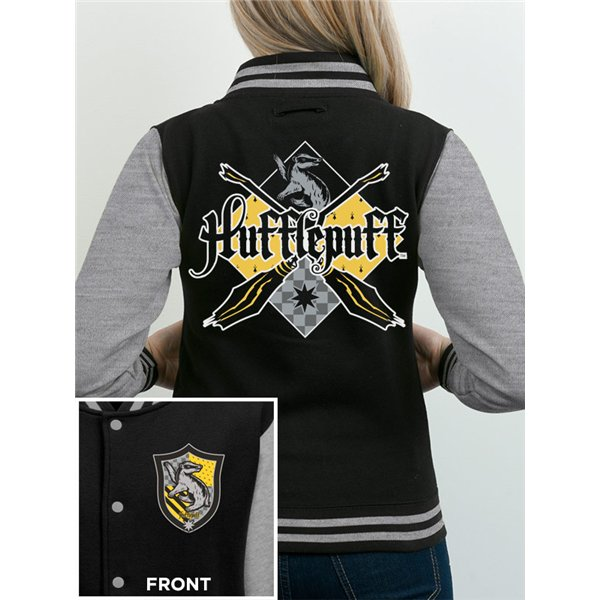 Harry Potter - House Hufflepuff - Unisex Varsity Jacket Black