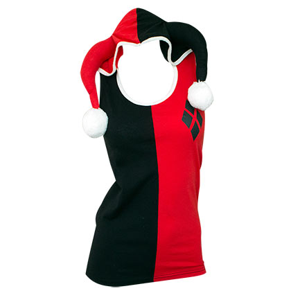 HARLEY QUINN Costume Hooded Tank Top
