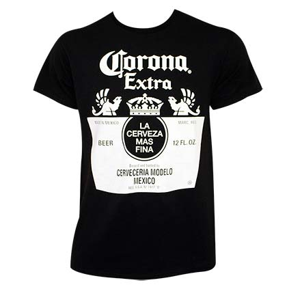 CORONA EXTRA Black and White Bottle Label Tee Shirt